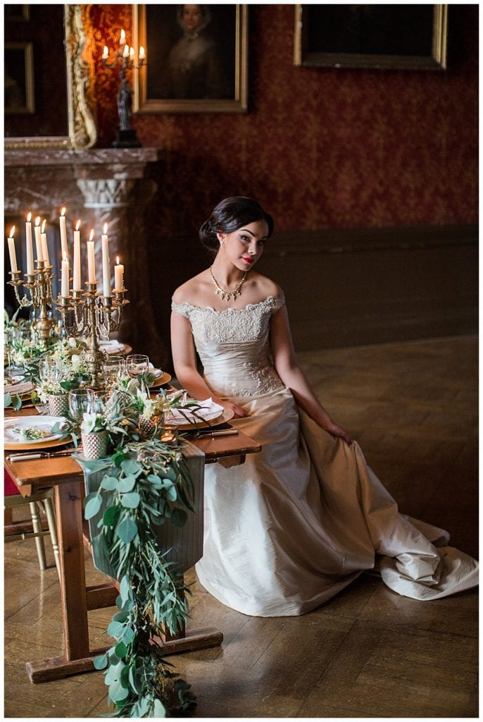 Bride with floral table runner