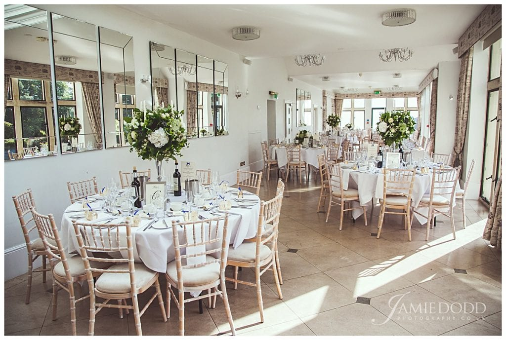 The orangery at Old Down Manor set up for a wedding
