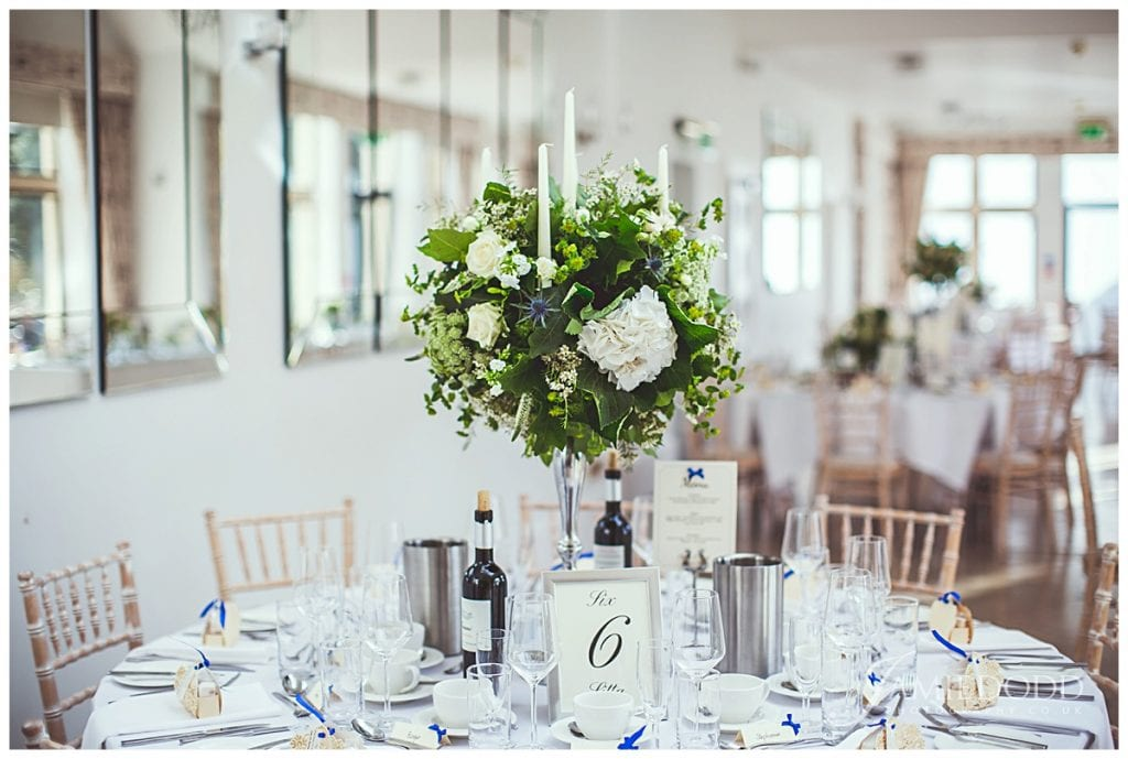 Silver Candelabras of flowers as a table centre piece
