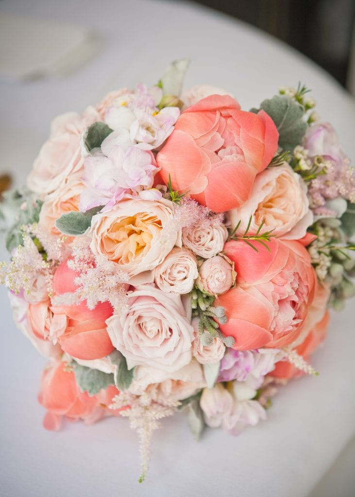 Coral peonies and silver foliage